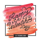 Valentines day lettering,square frame.Watercolor Stock Image