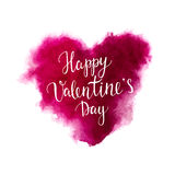 Valentines day lettering on a watercolor heart. Happy Valentines day lettering on a watercolor pink heart. Handdrawn watercolor vector illustration. Design by Stock Images