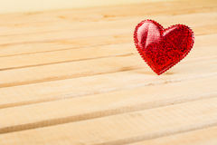 Valentines Day light wood background with red hearts Royalty Free Stock Photo