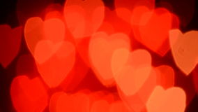 Valentines Day ligts. Valentines Day moving hearts background bokeh stock video