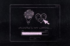 Valentines day loading pop-up message with progress bar Royalty Free Stock Photography