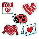 Valentines day love bug ladybug heart icon set Stock Photos