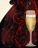 Valentines day love card with champagne Royalty Free Stock Photos