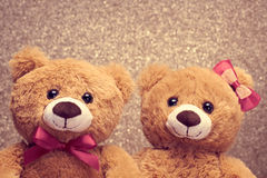 Valentines Day. Love. Couple Teddy Bears, vintage Royalty Free Stock Photography