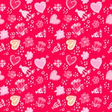 Valentines day Love Doodle Floral seamless Pattern Stock Photos
