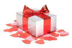 Valentines Day love gift. Valentines Day gift in silver box and small hearts isolated on white Stock Images