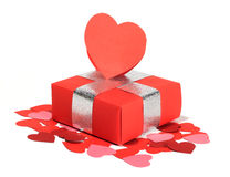 Valentines Day love gift. Valentines Day gift in red box and heart shaped card isolated on white Stock Photo