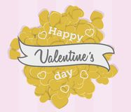 Valentines day love greeting card with many golden hearts on light pink background. Royalty Free Stock Photography