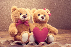 Valentines Day. Love heart. Couple Teddy Bears Stock Image