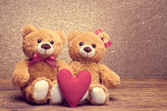 Valentines Day. Love heart. Couple Teddy Bears Royalty Free Stock Photo