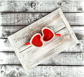 Valentines day Love Heart cups red tea drink Stock Photo