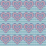 Valentines Day love heart knitted seamless pattern. Textures in blue, pink and white colors. Vector illustration.  Stock Images