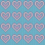 Valentines Day love heart knitted seamless pattern. Textures in blue, pink and white colors. Vector illustration.  Stock Photos