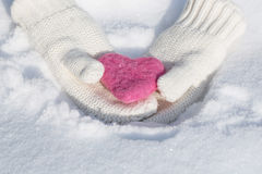 Valentines Day Love Heart in Mitten Hands Stock Images