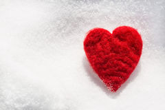 Valentines Day Love Heart In Snow From Above Royalty Free Stock Photography