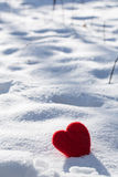 Valentines Day Love Heart In Snow Vertical Stock Photos