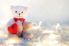 Valentines Day. Love heart. Teddy Bears in embrace, hugging. Han Stock Image
