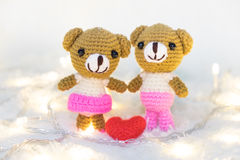 Valentines Day. Love heart. Teddy Bears in embrace, hugging. Han Stock Photos