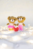 Valentines Day. Love heart. Teddy Bears in embrace, hugging. Han Royalty Free Stock Photo