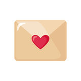 Valentines day love icon with envelope. Love letter icon with envelope with heart in flat style isolated on white background. Design element for Valentines day Royalty Free Stock Photo