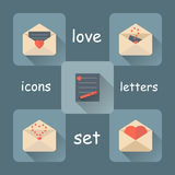 Valentines day love letter flat icons set with long shadow Royalty Free Stock Image