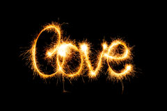 Valentines Day - Love made a sparkler on black Stock Photography