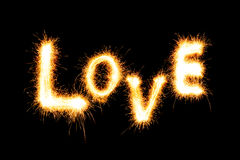 Valentines Day - Love made a sparkler on black Royalty Free Stock Photo