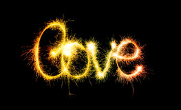 Valentines Day - Love made a sparkler on black Royalty Free Stock Images