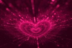 Valentines Day Love Purple Hearts Texture Background. Pink Heart Shape, Valentines Day - Holiday, Glittering Pattern, Glowing Bokeh Splash, Love - Emotion Royalty Free Stock Image
