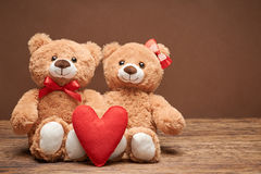 Valentines Day. Love red heart.Couple Teddy Bears Stock Photography