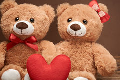 Valentines Day. Love red heart.Couple Teddy Bears Stock Photos