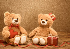 Valentines Day. Love red heart.Couple Teddy Bears Stock Image