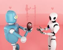Valentines day, love, robot,3d render vector illustration