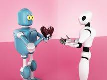 Valentines day, love, robot,3d render royalty free illustration