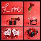 Valentines Day or love theme collage Stock Images