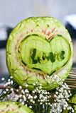 Valentines day, love, watermelon carving at Royalty Free Stock Images