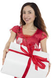 Valentines day and love woman carrying a gift package Stock Photos