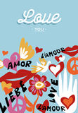 Valentines day love you text quote with decoration stock illustration