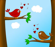 Valentines Day Lovebirds Pair Sitting on Tree. Branch Chirping Illustration Royalty Free Stock Image