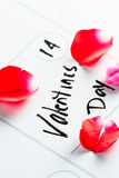 Valentines day marked on a calendar Royalty Free Stock Image