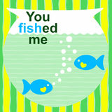Valentines day message with fishes on a bowl. Valentines day message `you fished me` with two blue fishes Stock Photo