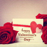 Valentines day message with red roses. Valentines day message with vivid red roses Stock Photo
