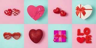 Valentines day minimal concept with heart shape and gift box stock images