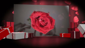 Valentines day montage. With gift box illustrations and red background stock video footage