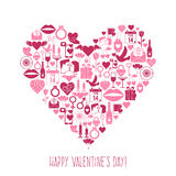 Valentines Day mosaic icons heart card Royalty Free Stock Photography