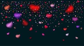 Romance love hearts rose petals confetti stock illustration