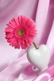 Valentines Day or Mothers Day Card. Pink flower in white heart shaped vase on satin background stock photos