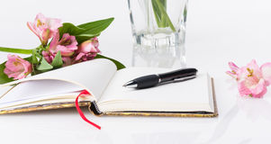Valentines day, Mothers day composition. Love diary and fresh spring flowers. Stock Photo