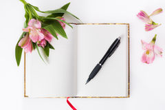 Valentines day, Mothers day composition. Love diary and fresh spring flowers. Stock Photography