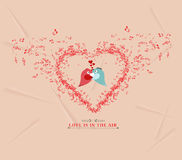 Valentines day music elementsand couple bird greeting card Royalty Free Stock Photography